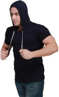 Inkovy Solid Mens Hooded Dark Blue T-Shirt