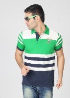Proline Striped Men's Polo Neck Blue, Green, White T-Shirt