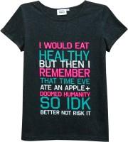 Abstract Mood Girls Printed T Shirt(Black)