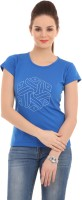 LovinoForm Printed Women's Round Neck Blue T-Shirt
