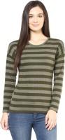 Hypernation Striped Womens Round Neck Dark Green T-Shirt