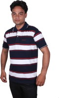 Norwood Striped Men's Polo Neck White, Dark Blue, Red T-Shirt