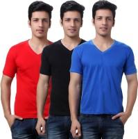 TeeMoods Solid Mens V-neck Red, Blue, Black T-Shirt(Pack of 3)