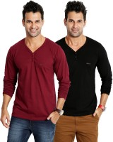 Rodid Solid Mens V-neck Maroon, Black T-Shirt(Pack of 2)