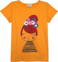 Abstract Mood Girls Printed T Shirt(Yellow)