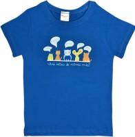 HoneyPossum Boys Printed Cotton Blend T Shirt(Blue, Pack of 1)