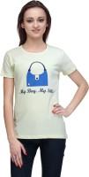 Stilestreet Printed Women's Round Neck Yellow T-Shirt