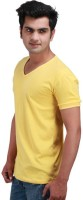 Inkovy Solid Mens V-neck Yellow T-Shirt