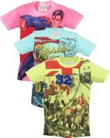 Tonyboy Boys Graphic Print T Shirt(Multicolor, Pack of 3)