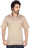 Thinc Solid Mens Polo Neck Beige T-Shirt