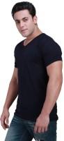 Inkovy Solid Mens V-neck Dark Blue T-Shirt