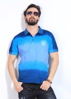 John Players Solid Mens Polo Neck Blue T-Shirt