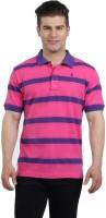 The Cotton Company Striped Mens Polo Neck Pink, Purple T-Shirt