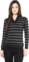Hypernation Striped Womens Draped Neck Black, Grey T-Shirt