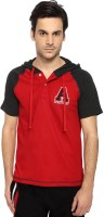 Ajile by Pantaloons Solid Men's Hooded Red T-Shirt