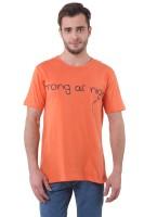 Purys Printed Men's Round Neck Orange T-Shirt