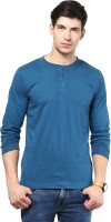 Izinc Solid Men's Henley Light Blue T-Shirt