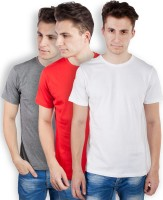 TOMO Solid Mens Round Neck Grey, Red, White T-Shirt(Pack of 3)