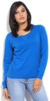 French Connection Solid Womens Round Neck Blue T-Shirt