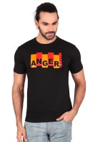 Anger Beast Printed Mens Round Neck Black T-Shirt