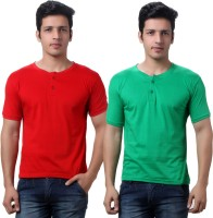 TeeMoods Solid Men's Henley Red, Green T-Shirt(Pack of 2)