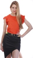 Living Doll Solid Womens Round Neck Orange T-Shirt