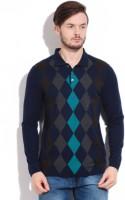 Peter England Geometric Print Mens Polo Neck Grey, Blue T-Shirt