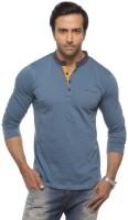 Cult Fiction Solid Mens Round Neck Light Blue T-Shirt
