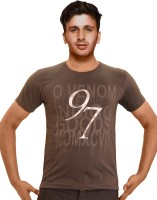Clickroo Printed Mens Round Neck Brown T-Shirt