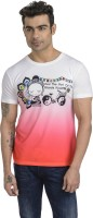 Total Football Printed Men's Round Neck White, Pink T-Shirt