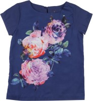 Allen Solly Junior Girls Printed T Shirt(Blue)
