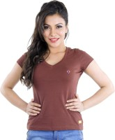Texco Solid Womens V-neck Multicolor T-Shirt