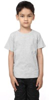 99Tshirts Boys Solid Cotton T Shirt(Grey, Pack of 1)
