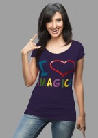 Imagica Printed Women's Round Neck Purple T-Shirt