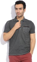 Breakbounce Solid Mens Polo Neck Grey T-Shirt