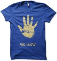 Rawpockets Graphic Print Men's Round Neck Blue T-Shirt