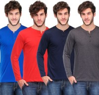 TSX Solid Mens Henley Multicolor T-Shirt(Pack of 4)
