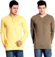 Lemon & Vodka Solid Mens Henley Yellow, Brown T-Shirt(Pack of 2)
