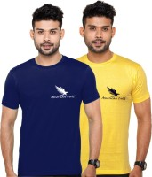 American Cult Solid Mens Round Neck Yellow, Blue T-Shirt(Pack of 2)