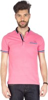 Mufti Solid Men's Henley Pink T-Shirt