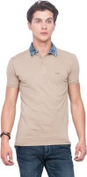 Mufti Solid Men Polo Neck Brown T-Shirt