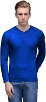 Feed Up Solid Men Henley Neck Blue T-Shirt