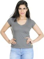 Texco Solid Womens V-neck Black, White T-Shirt
