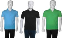 Selfieseven Solid Mens Polo Neck Multicolor T-Shirt(Pack of 3)