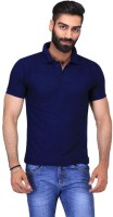 Ave Solid Men Polo Neck Dark Blue T-Shirt