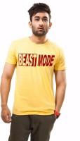 Unisopent Designs Printed Mens Round Neck Yellow T-Shirt