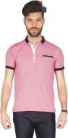 Mufti Striped Men Henley White, Pink T-Shirt