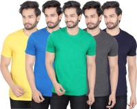 LUCfashion Solid Mens Round Neck Yellow, Blue, Green, Black, Blue T-Shirt(Pack of 5)