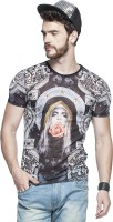 Tinted Graphic Print Mens Round Neck Blue T-Shirt