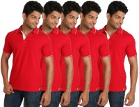 Campus Sutra Solid Men Polo Neck Red T-Shirt(Pack of 5)